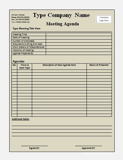 Wonderful Meeting Agenda Template  Blank Agenda Form