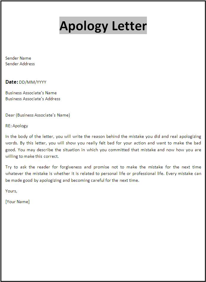 Apology Card Template  Letter Of Apology Template