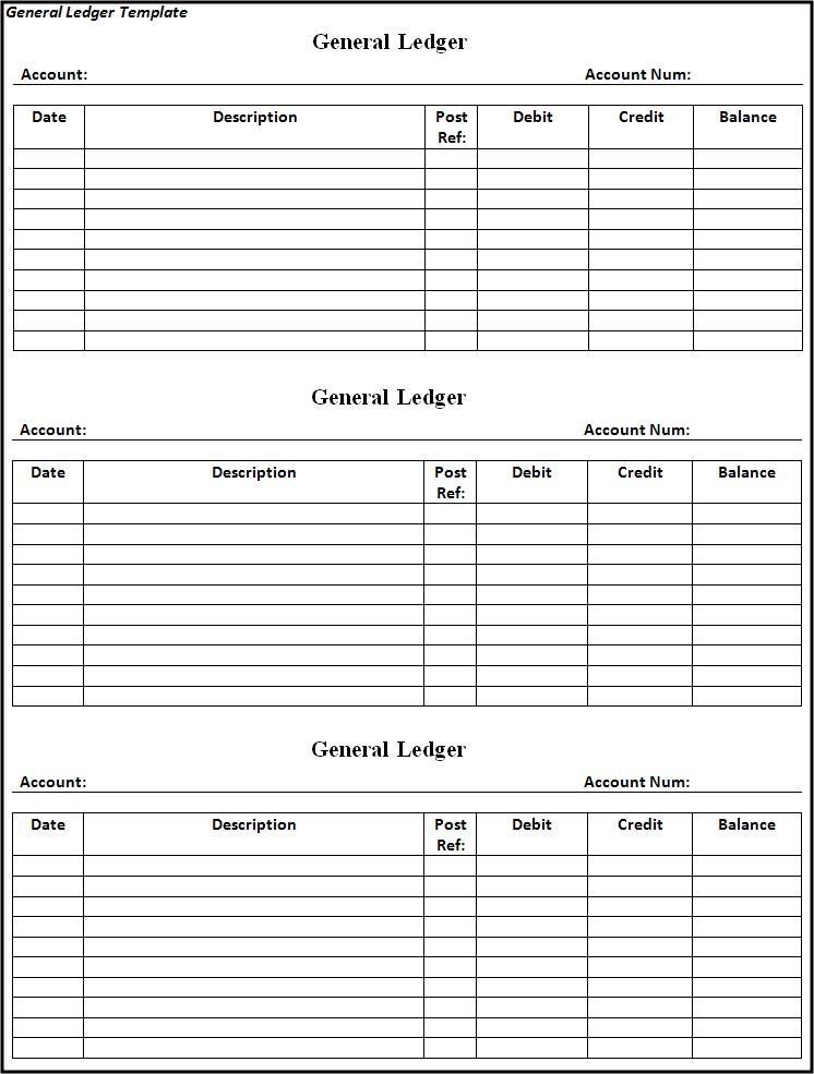 Free Word Templates  General Ledger Template