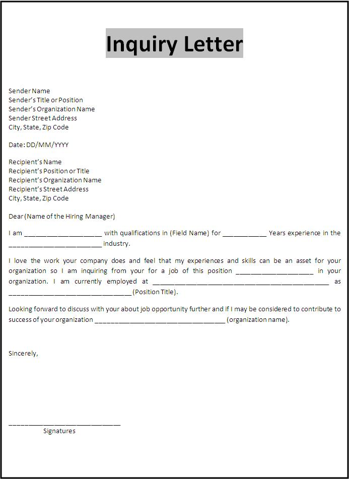 Inquiry Letter Template  Free Words Templates