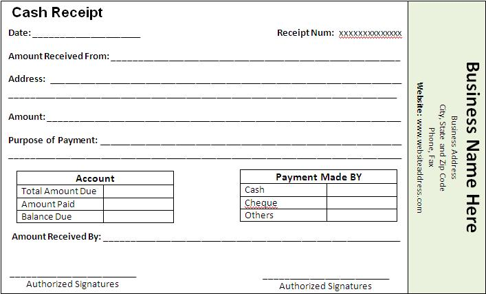 Payment Receipt Template  Printable Word  Excel Templates