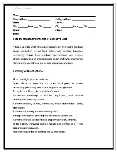chef resume template free word templates