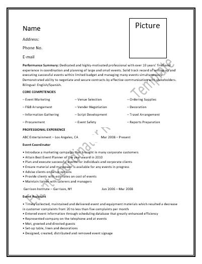 event coordinator resume templates