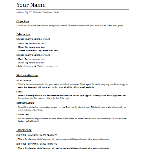 5  functional resume templates