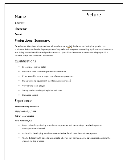 Manufacturing Resume Template  Manufacturing Resume Templates