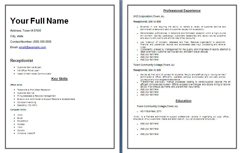 sample receptionist resume free word templates