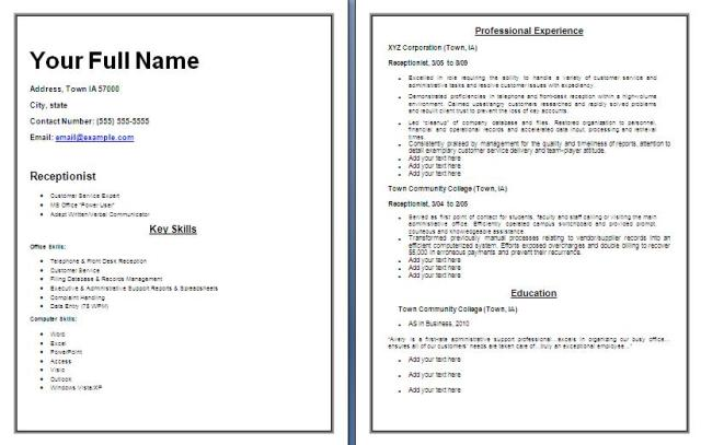 receptionist resume template free word templates - Receptionist Resume Template