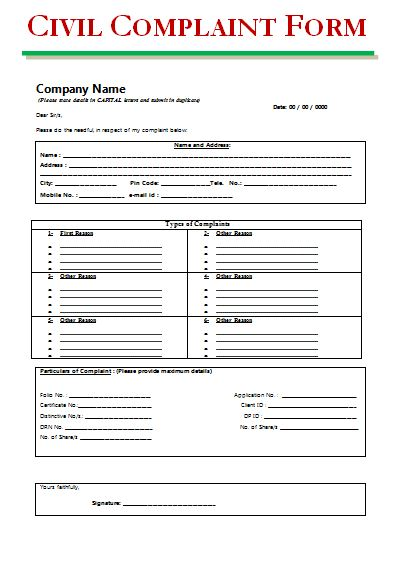Civil Complaint Form  Printable Word  Excel Templates