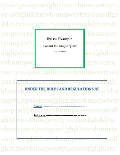 Bylaw Template  Bylaw Template