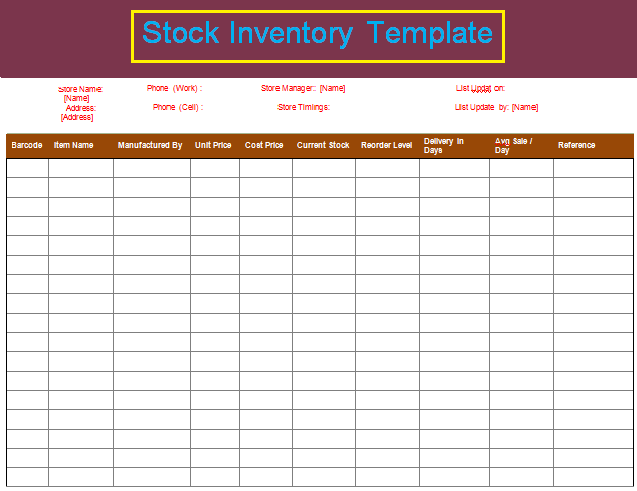 Stock Inventory List Free Word Templates
