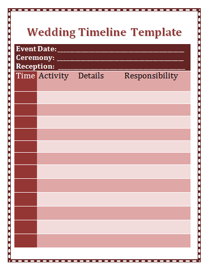 details of wedding timeline template