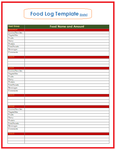 Food Log Templates Free Word Templates