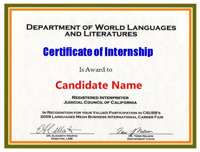 Internship Certificate Templates  12 Free Printable Word