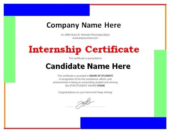 Internship Certificate Template 3