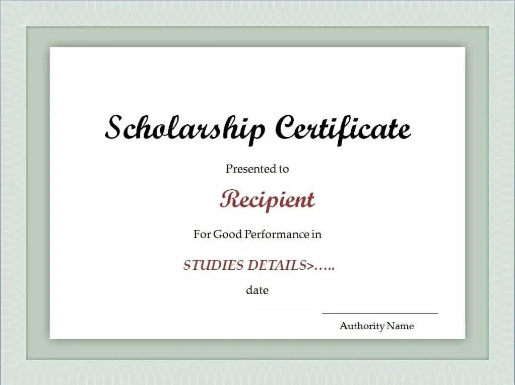 scholarship award certificate templates