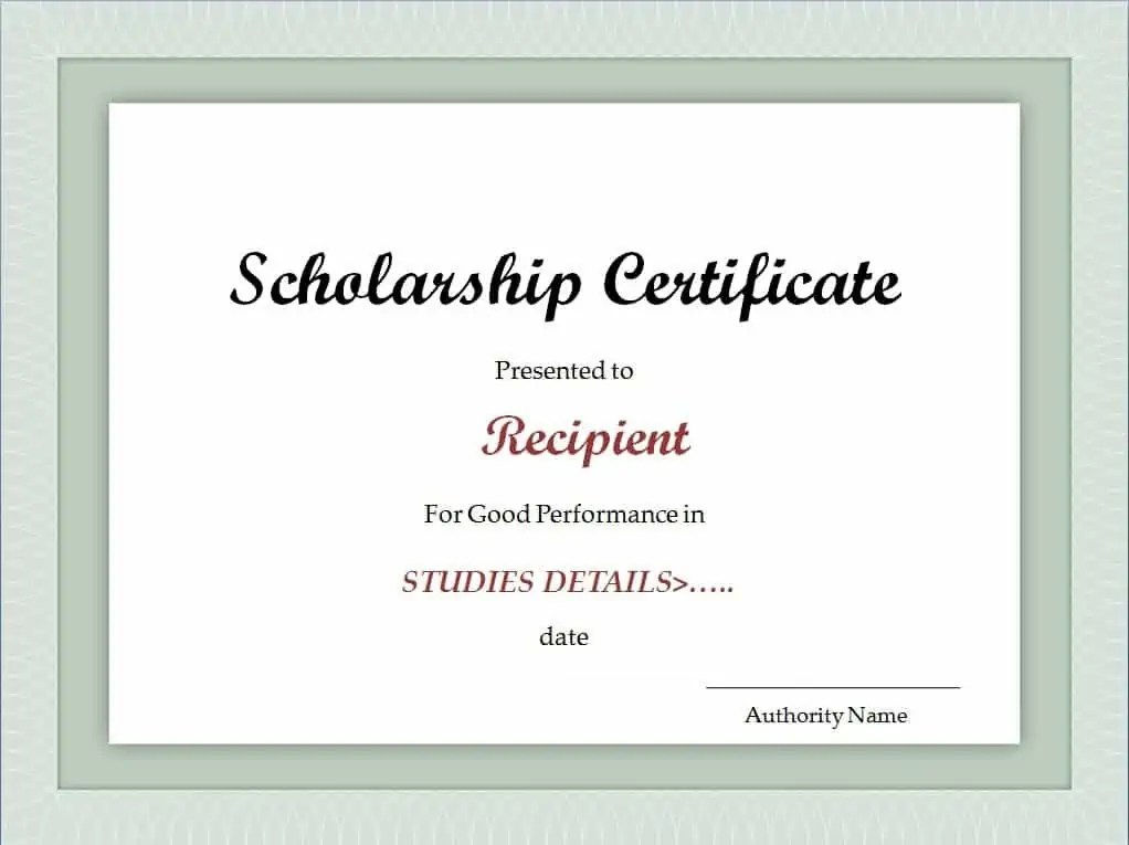 Scholarship Certificate Template  Excel Xlts