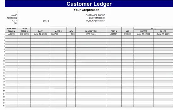excel ledger template 1