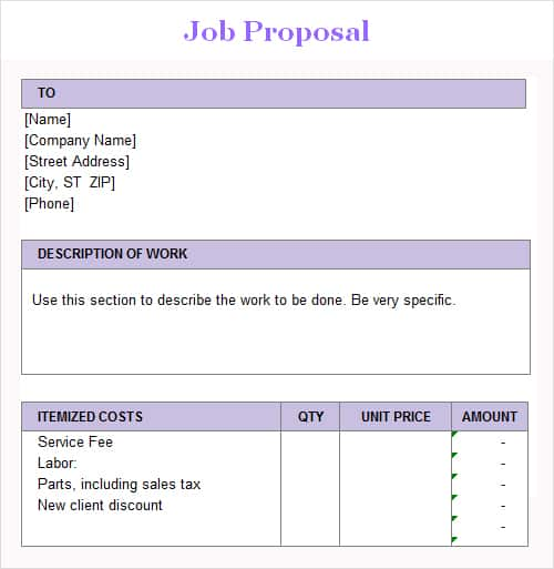 3 Job Proposal Templates