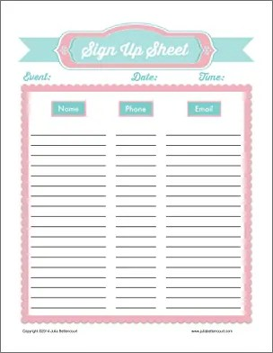 sign up sheet template pdf