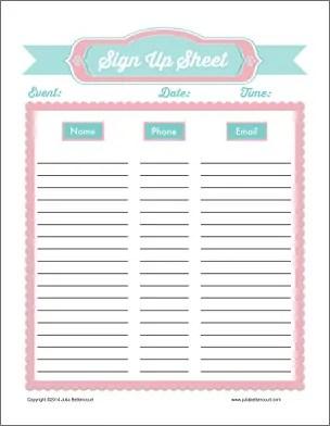 sign up sheet template 4