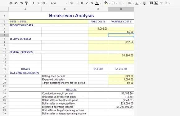 Business Break Even Excel Template. Break Even Analysis Preview 1  Break Even Template Excel