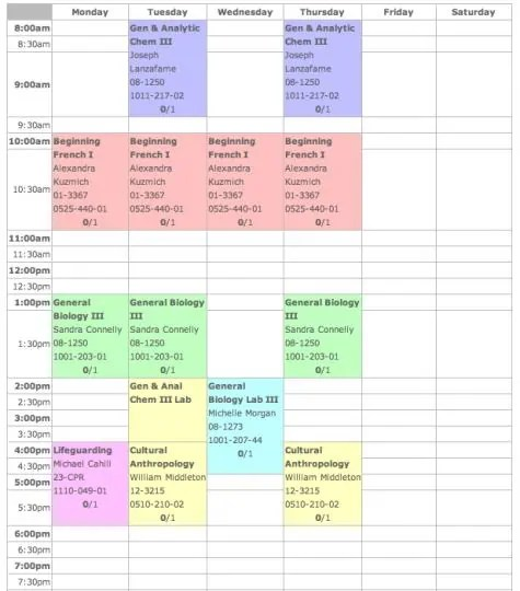 4 excel class schedule makers excel xlts for College school schedule template