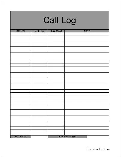 Call Logs Template Amazing Design