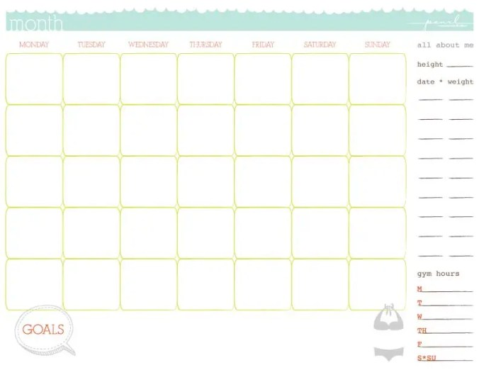 workout calendar template 3