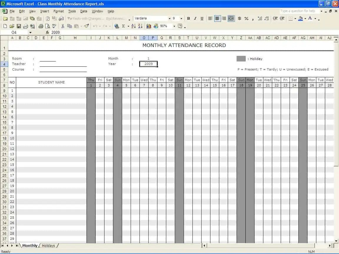 Office Attendance Sheet Excel Free Download Attendance Calendar – Office Attendance Sheet Excel Free Download