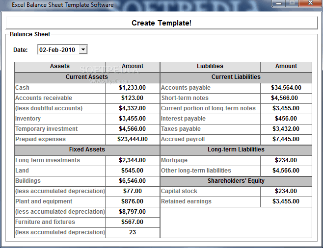 balance sheet template 55