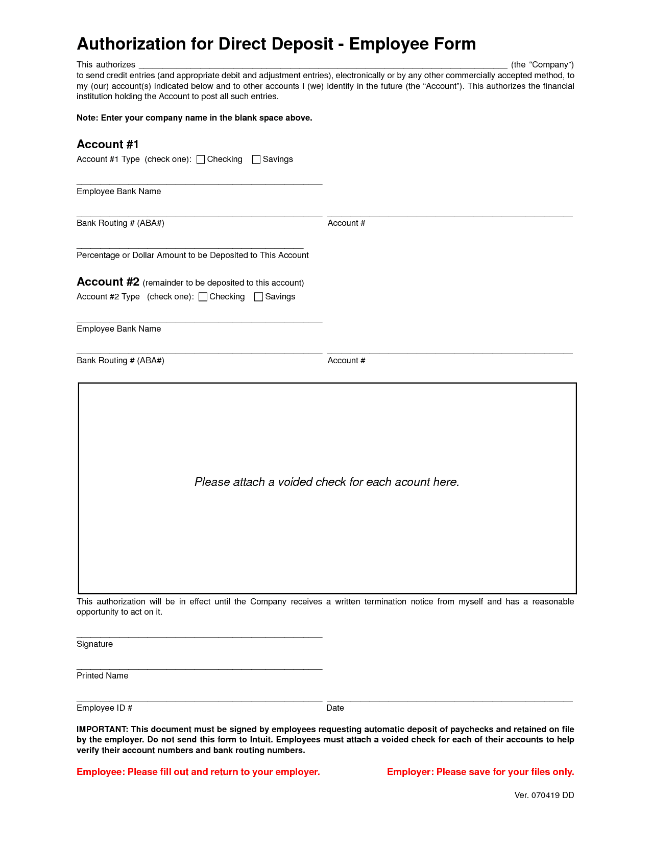 5 Direct Deposit Form Templates