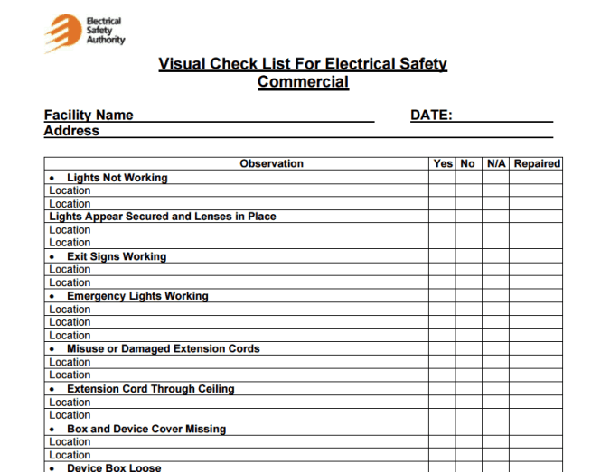 facility maintenance checklist template 44