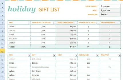 5 Gift List Templates Word Excel Formats