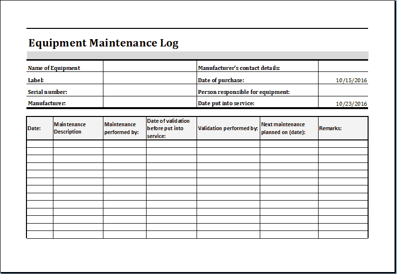 equipment service log template