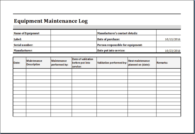 maintenance template 33