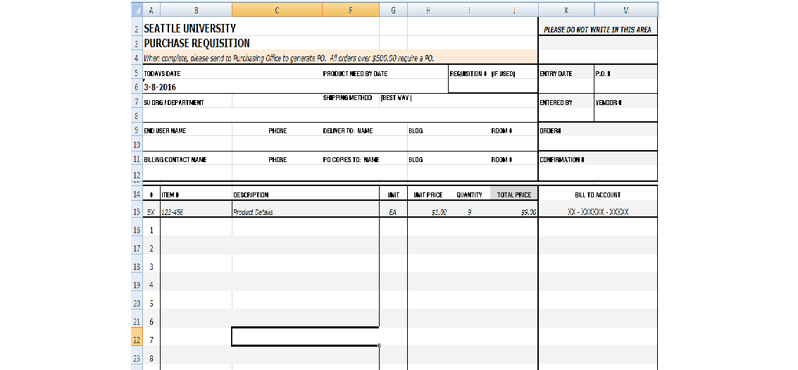 Requisition Form In Excel   Resume Template  Purchase Request Sample