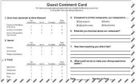 restaurant comment card template 33