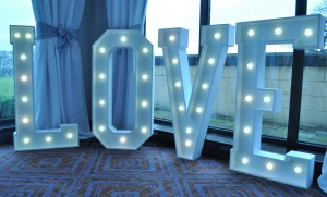 LOVE wedding sign at Rookery Hall Cheshire