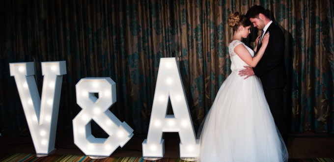 Bride and Groom with Light Up Letters