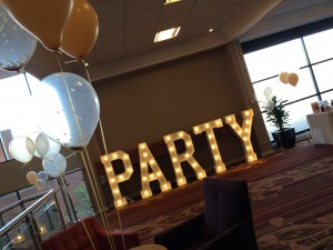 PARTY wooden letters hired for a corporate event