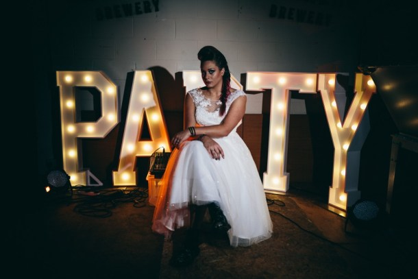 PARTY illuminated letters and bride