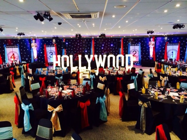 HOLLYWOOD marquee letter lights by the dancefloor at Chester Races