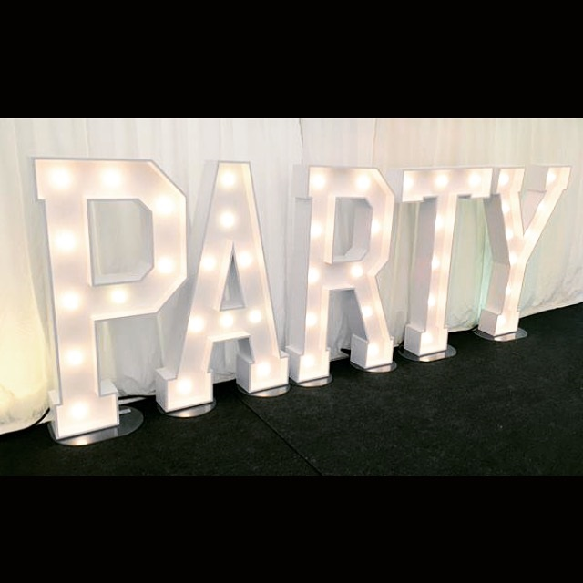 PARTY marquee letter lights for a wedding
