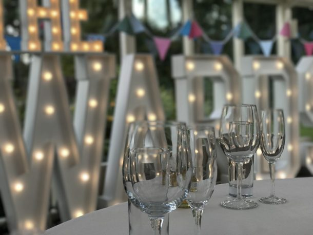 Words To Glow The WARDS light up wedding letters at a Cheshire wedding reception