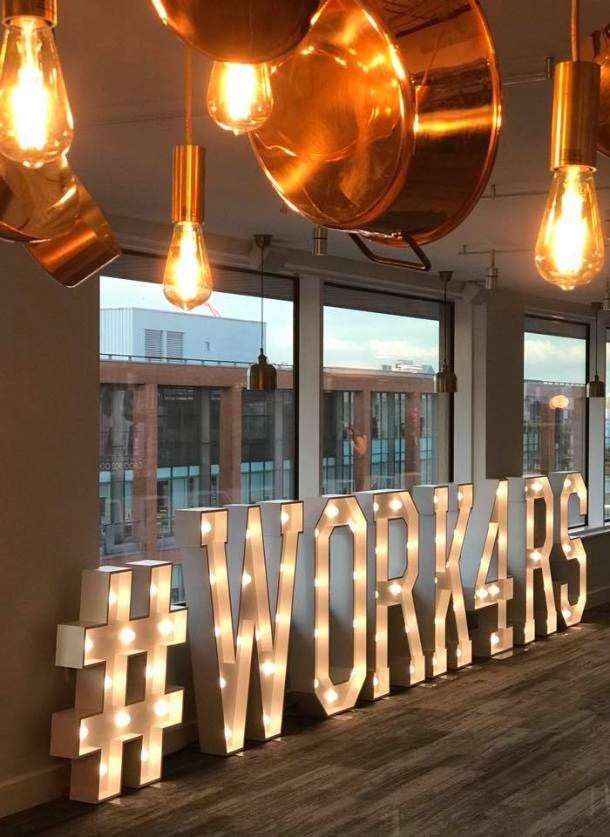 #WORK4RS illuminated letters at etc venues, Manchester