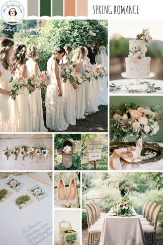 Green and Coral Wedding Colours