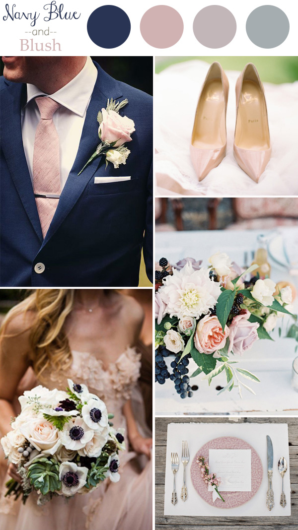Navy Blue and Blush Pink Wedding Colour Palette