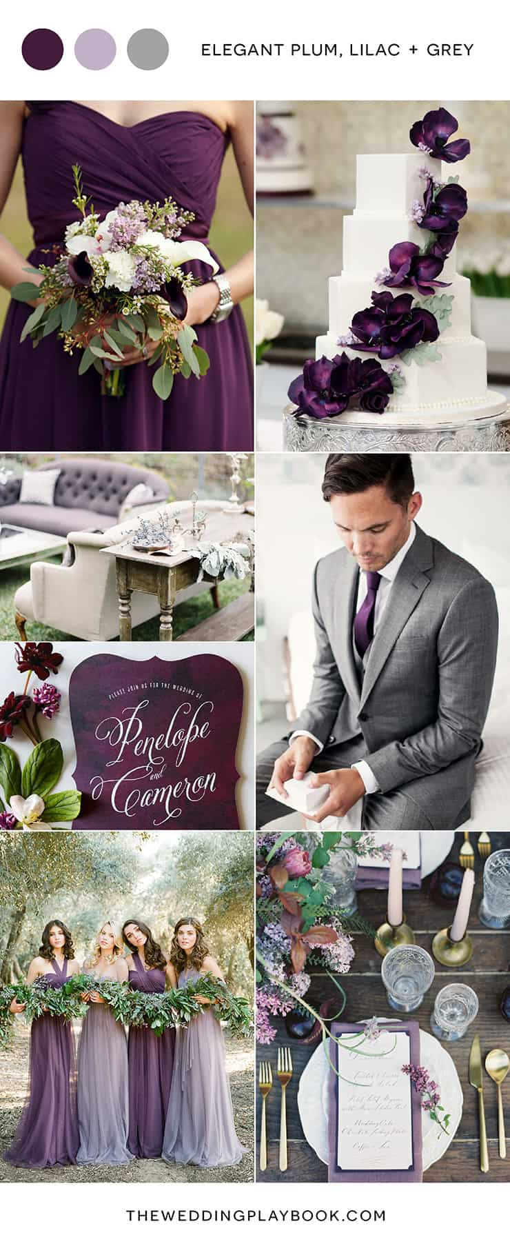 Rich Plum, Lilac and Grey Wedding Colour Inspiration