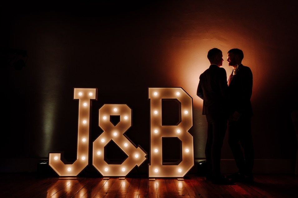 J & B light up letters at The Castlefield Rooms Manchester