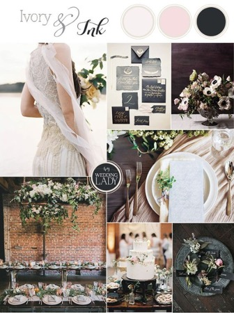 Baby Pink and Black wedding colours with classic green foliage for timeless wedding decor
